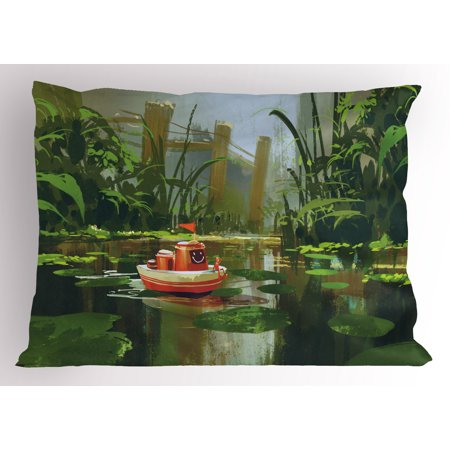 Fantasy Pillow Sham Toy Boat with Smile Face Robot Sailing on River Forest Cartoon Inspired Kid Friendly, Decorative Standard Queen Size Printed Pillowcase, 30 X 20 Inches, Red Green, by Ambesonne](Inspiring Smiles)