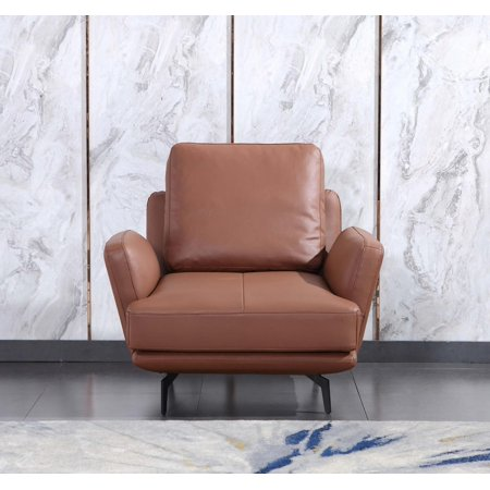 Premium Italian Leather Russet Brown TRATTO Arm Chair EUROPEAN FURNITURE Modern