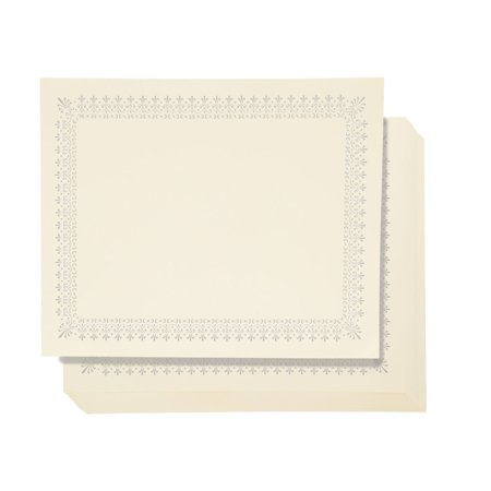 48 Pack Certificate Paper - Letter Size Blank Silver Foil Border Specialty Award Paper, Printer Friendly, Gold, 8.5 x 11