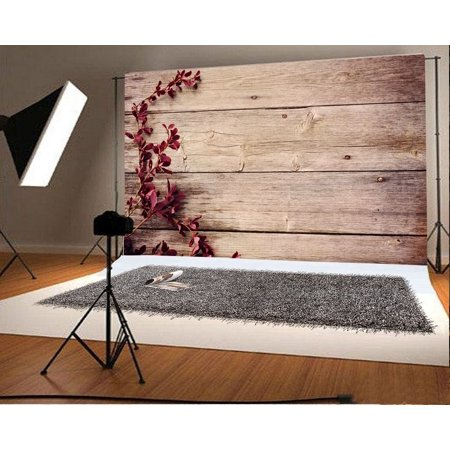 GreenDecor Polyster 7x5ft Wood Backdrop Plants Branch Rustic Stripes Wooden Floor Photography Background Kids Children Adults