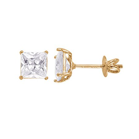 - 14kt Yellow Gold Plated Square Crystal Screw back Studs
