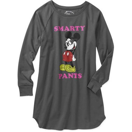Juniors Smarty Pants Mickey Fleece Sleep Shirt