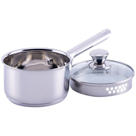 Mainstays Stainless Steel 1 Quart Sauce Pan with Lid