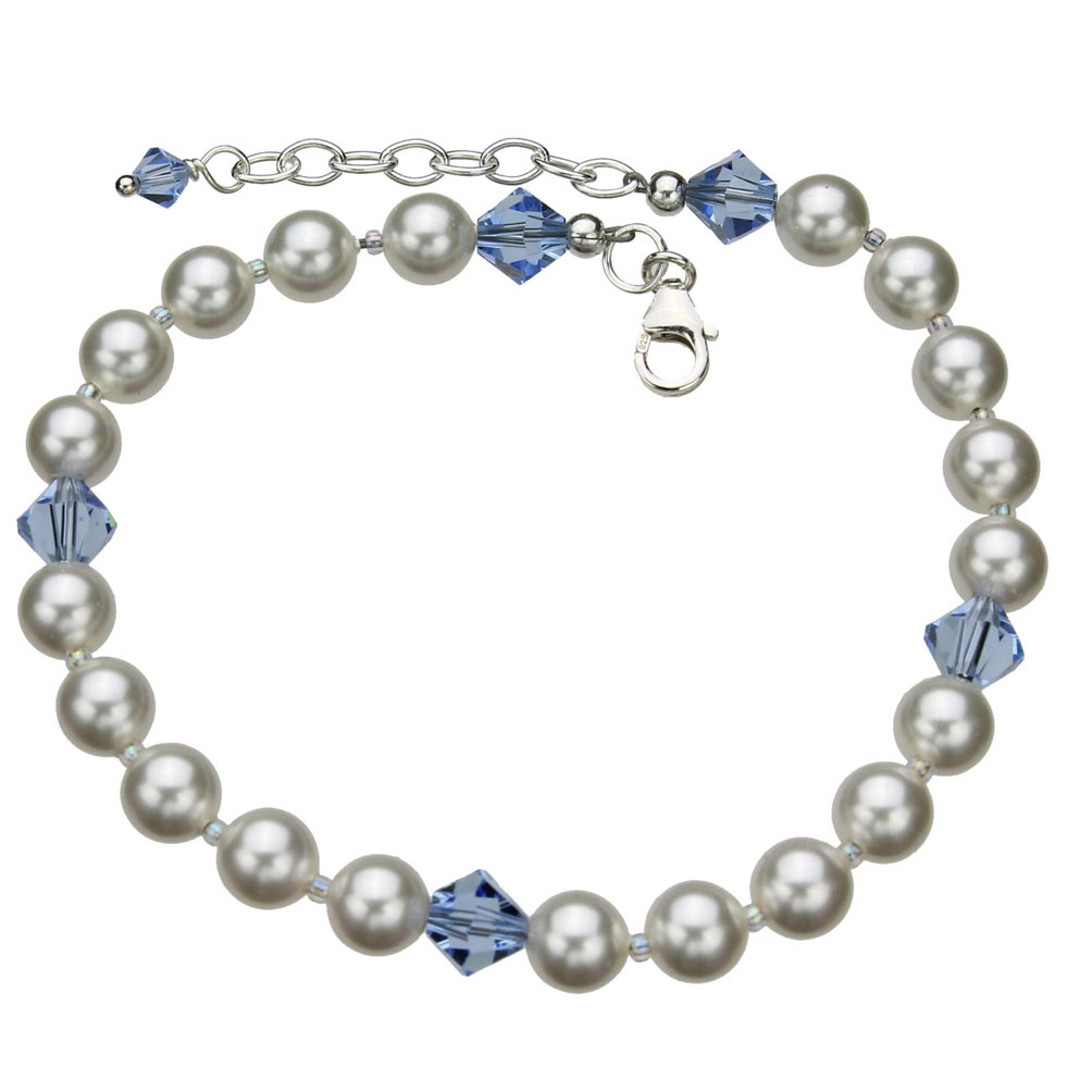 Sterling Silver Ankle Bracelet Simulated Pearls Made With Swarovski