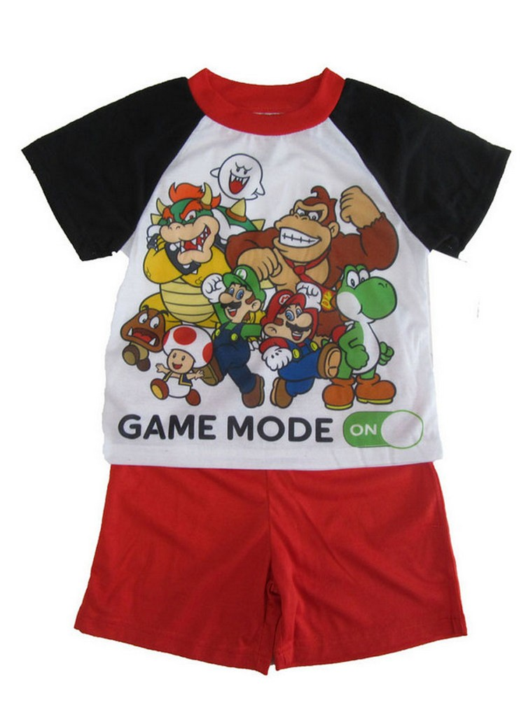 Super Mario Little Boys White Short Sleeve Pajama Set