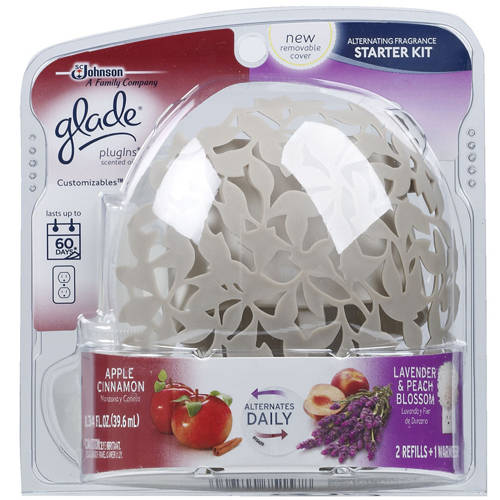 Glade PlugIns Apple Cinnamon/Lavender & Peach Blossom Alternating Fragrance Starter Kit, 1.34 oz