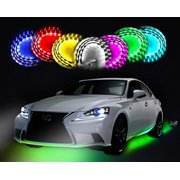 """Zento Deals 7 Colors LED Undercar Glow Underbody System Neon Lights Kit 36"""" x 2 & 48"""" x 2 w/ Sound Active Function and Wireless Remote Control"""