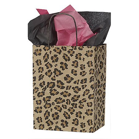 Medium Brown Leopard Paper Shopping Bags With Handles - Case of 25 - Brown Paper Bags With Handles