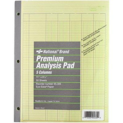Wilson Jones national brand analysis pad, 5 columns, gree...