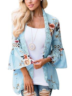 Women's Kimono Cardigans Floral Print Chiffon Beach Cover ups Loose Casual Tops