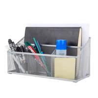 Pro Space Mesh Pencil Holder Office Supplies Book Stand Desk Organizer, 4 Compartments, Silver