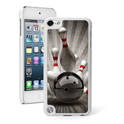 For Apple iPod Touch 5th / 6th Generation Hard Back Case Cover Bowling Ball Hitting Pins (White)