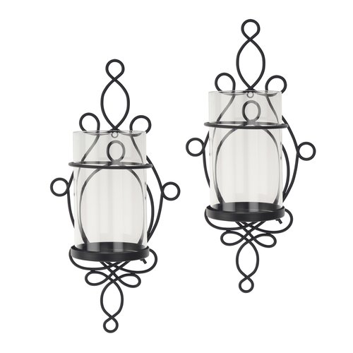 better homes and gardens wall sconce pillar candle holders 2piece