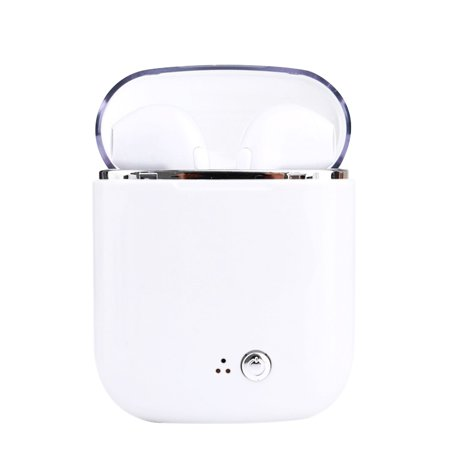 Magicfly upgrade i7tws Wireless Bluetooth Headset (white crystal ii)4.2 Mini Earbuds With USB Charge Cable and Charging Case, Stereo Headset Apt for Android& Iphone (Best Bluetooth Headset For Android)