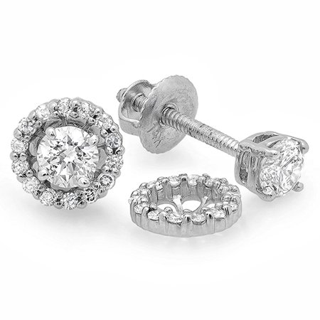 Cts 14k Diamond Earrings (0.45 Carat (ctw) 14k White Gold Round Diamond Ladies Halo Style Stud Earrings With Removable Jackets 1/2 CT )