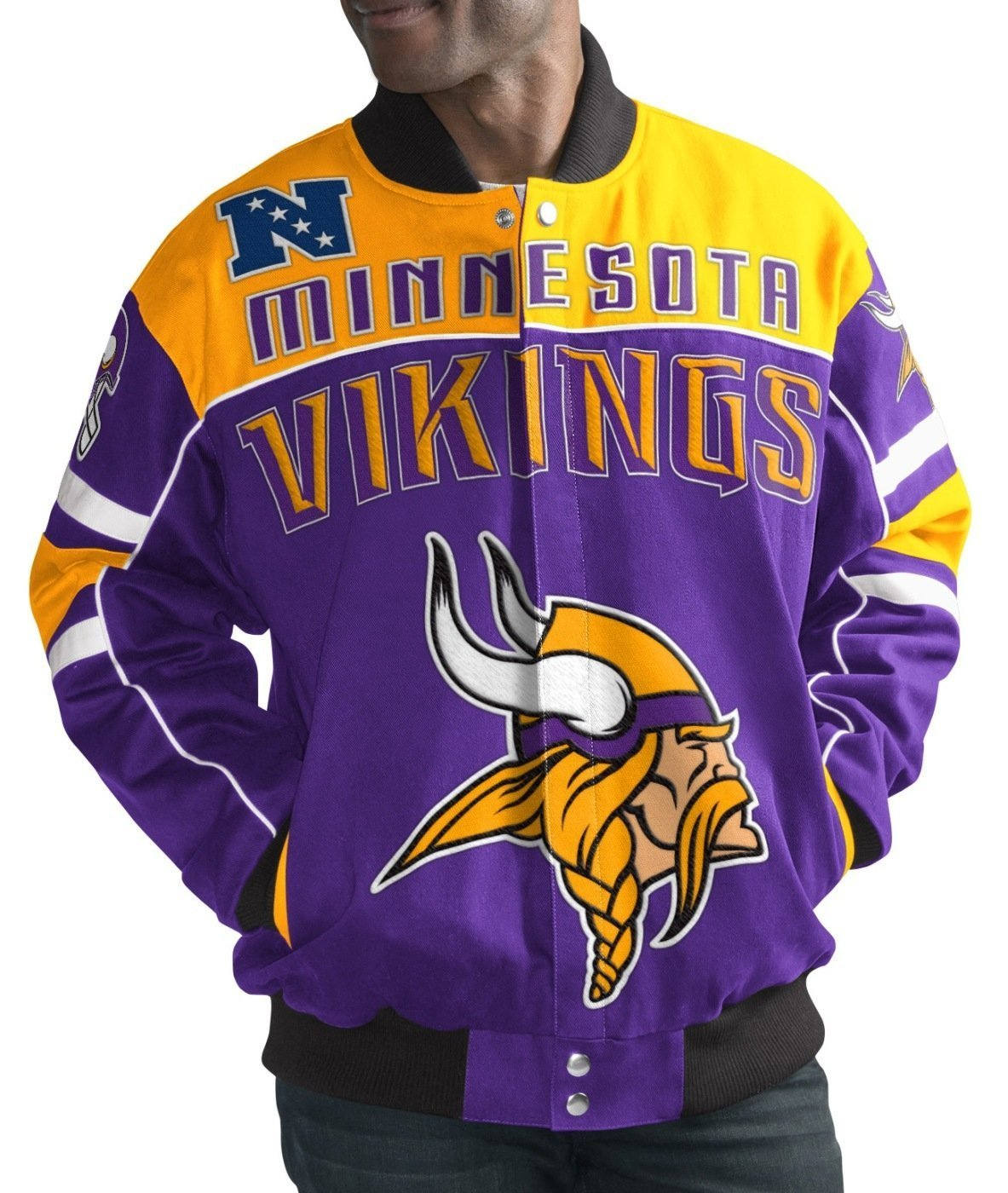 "Minnesota Vikings Men's ""Blitz"" Premium Cotton Twill Jacket by G-III Sports"