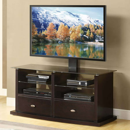 Whalen Espresso Tv Stand With Swinging Mount For Tvs Up To 56