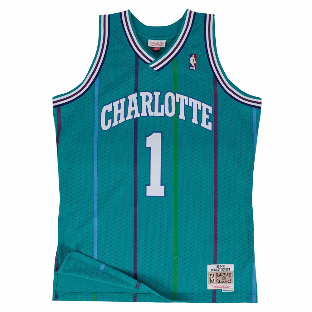 Muggsy Bogues Charlotte Hornets NBA  Mitchell & Ness Teal Green 1992-93 Swingman Throwback Jersey For Men