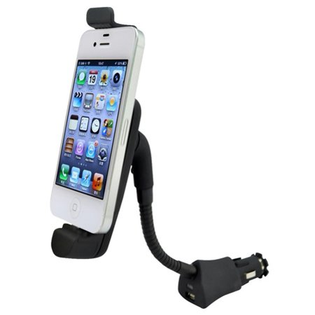 Car Mount Charging Socket Holder with USB Port Dock Cradle Gooseneck Swivel D1E Compatible With iPod Touch 5 Nano 7th Gen, iPhone SE 8 7 6S 6 5S 5C 5