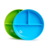 Munchkin Stay Put Suction Plates, 2 Pack, Blue/Green