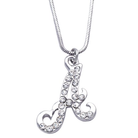 cocojewelry Small Initial Cursive Letter Charm Pendant Necklace ()