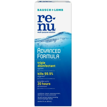 2 Pack - Bausch & Lomb Multipurpose Contact Lens Solution Travel Kit, 2 oz Pack of 2 for the UPC: 310119039540Product Description Protect your contact lenses with the Advanced Formula Multipurpose Contact Lens Solution from renu?. It features a new and improved approach to fighting germs, cleaning lenses and preventing protein deposits. It's the smart lens care choice that keeps looking forward. Unique disinfectant system; kills 99.9% of germs  Excellent cleaning; helps prevent the formation of deposits on lenses when used daily  Dual surfactants; delivers up to 20 hours of moisture and provides all-day comfort  Perfect size for travel use  Please read all label information upon delivery