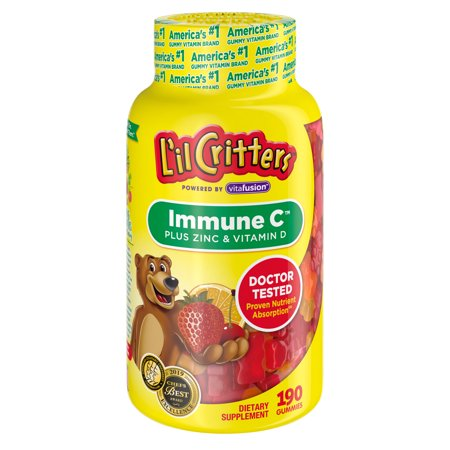 L'il Critters Kids Immune Vitamin C Plus Zinc and Vitamin D, 190 Count Gummies (packaging may