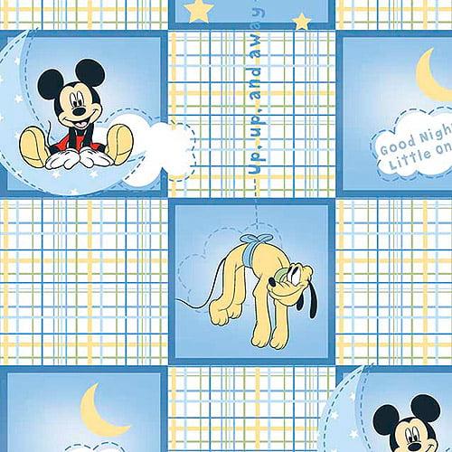 Disney Mickey Good Night Plaid Fabric