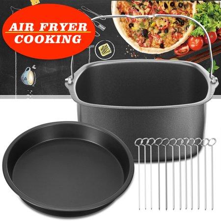 Air fryer Cooking Accessories Baking Dish + Pizza Pan + 12 Skewers airfryer Chicken Great Pan