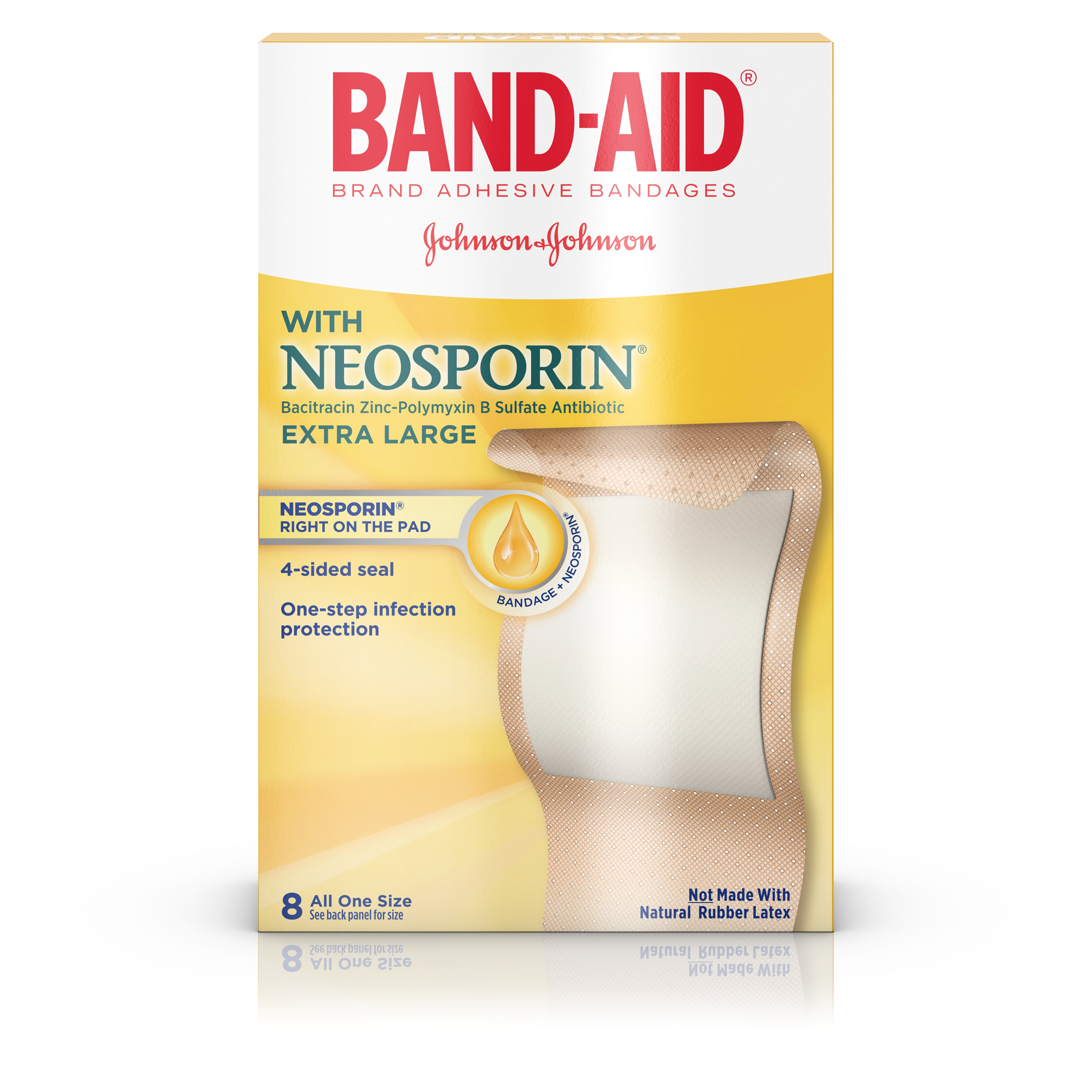 (2 pack) Band-Aid Brand Bandages with Neosporin Antibiotic, Extra Large, 8 ct