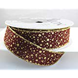 Gold Dot Wire - Wire Edged Pascal Burgundy with Gold Glitter Dots Christmas Ribbon 1 1/2