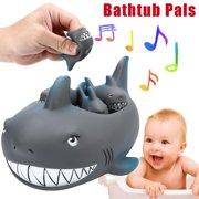 MosunxShrilling Rubber Cute Shark Family Bathtub Pals Floating Bath Tub Toy For Kids