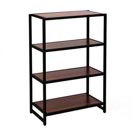 HomCom Modern 4 Shelf Bookcase - Walnut / Black