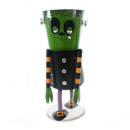Halloween FRANKENSTEIN BUCKET CANDY HOLDER Metal Monster 9733831