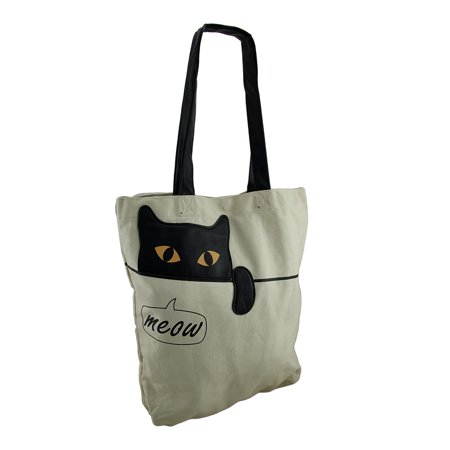 Sleepyville Critters Meow Peeking Cat Canvas Tote Bag