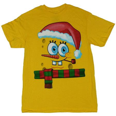 SpongeBob Squarepants Mens T-Shirt - Christmas Scarf Santa Hat Face Image - Spongebob Hat