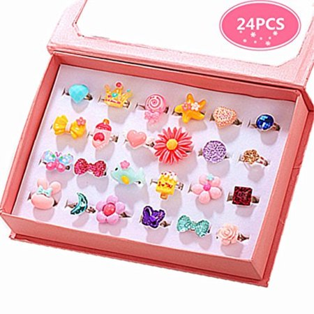 PinkSheep Children Kids Little Girl Jewelry Rings In Box, 24PCS, Adjustable, No duplication, Girl Pretend Play and Dress Up Rings