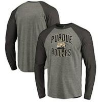 Purdue Boilermakers Fanatics Branded Hometown Collection Raglan Tri-Blend Long Sleeve T-Shirt - Heathered Gray/Black