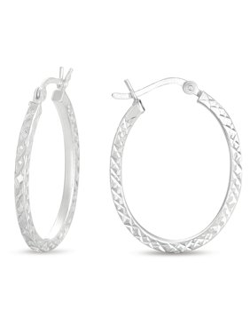 Diamond Cut Sterling Silver Oval Hoop Earrings