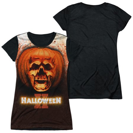 Halloween Ii Pumpkin Skull Officially Licensed Black Back Sublimation Juniors T Shirt - Halloween 2 Pumpkin Skull