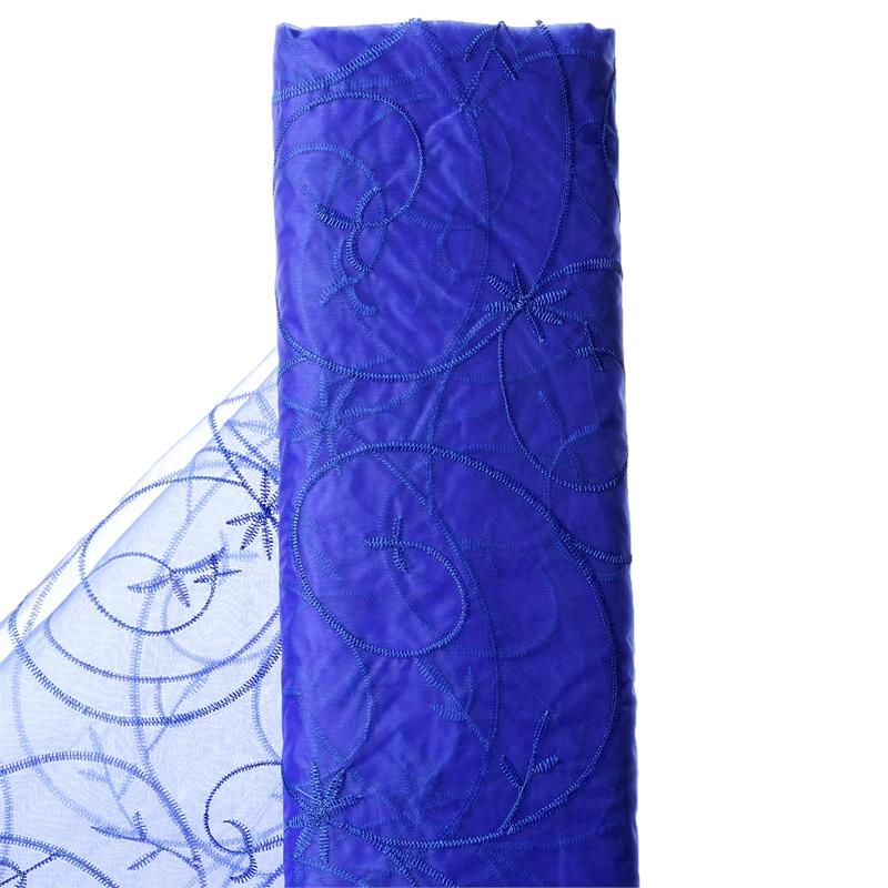 "54"" x 10 yards Embroidered Organza Fabric Bridal Bolt - Royal Blue"