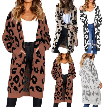 - Women's Long Cardigan Sweater Leopard Print Open Front Long Sleeve Loose Coat