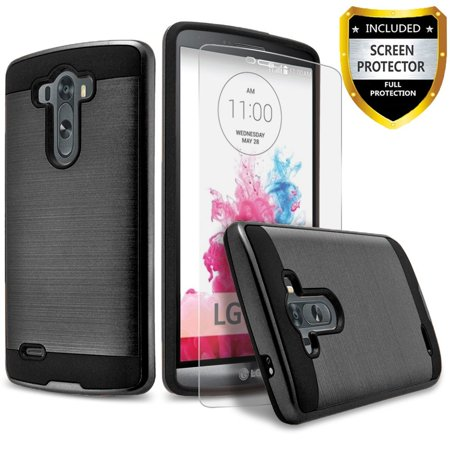 LG G3 Case, 2-Piece Style Hybrid Shockproof Hard Case Cover with [Premium Screen Protector] Hybird Shockproof And Circlemalls Stylus Pen