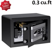 SLYPNOS Digital Steel Security Safe Box, Large Lock Box With Digital Keypad for Home Office and Hotels to Store Cash Jewelry Passport Guns Includes 2 Manual Override Keys (Black Gray)