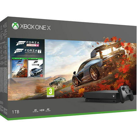 Xbox One X 4K HDR Enhanced Forza Horizon 4 Bonus Bundle: Forza Horizon 4, Forza Motorsport 7, Xbox One X 1TB Console -