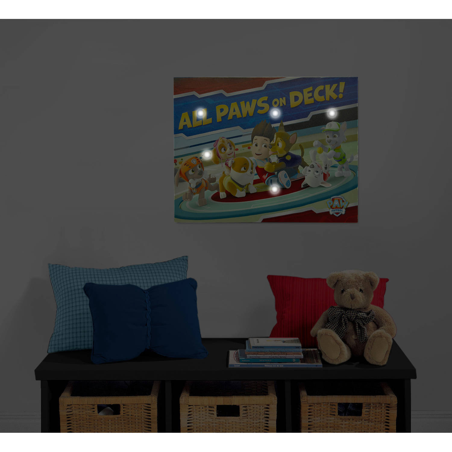 Led Wall Art nickelodeon paw patrol light up canvas wall art with bonus led