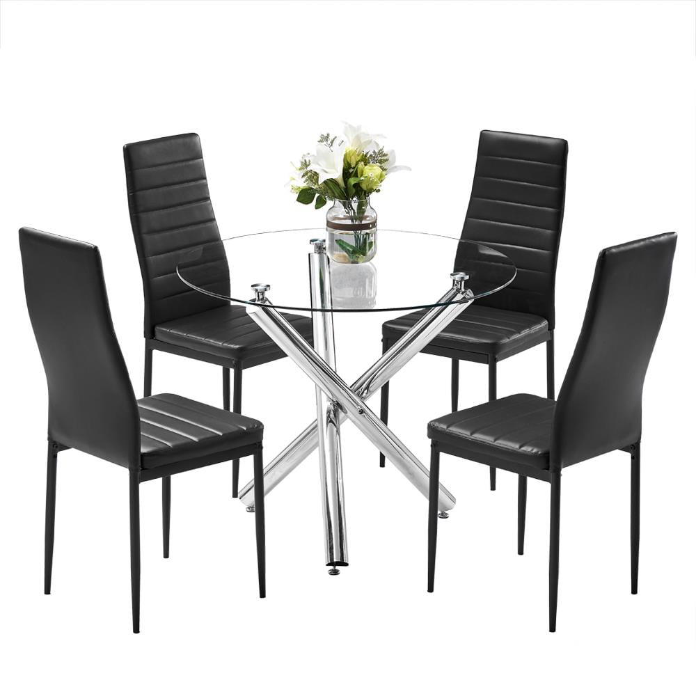 Ktaxon 5 Piece Round Dining Table Set Modern Kitchen Table And Chairs For 4 Person Dining Room Table Set With Clear Tempered Glass Top Dining Set For Dining Room Kitchen Table 4