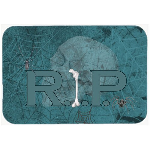 Caroline's Treasures Rip Rest In Peace with Spider Web Halloween Kitchen/Bath Mat