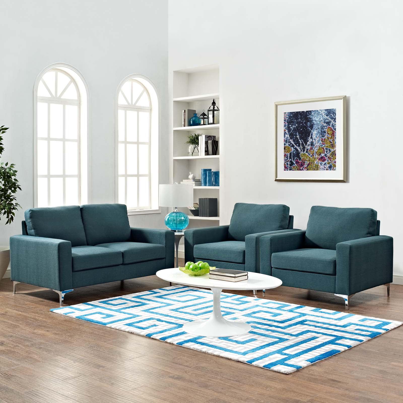Modway Allure 3 Piece Sofa and Armchair Set, Multiple Colors