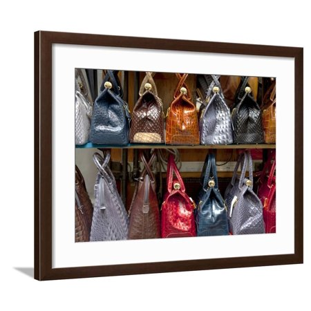 Italy, Florence, Tuscany, Western Europe, Leather Goods on Display Framed Print Wall Art By Ken